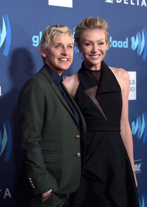 Ellen DeGeneres with wife Portia de Rossi attends the 26th Annual GLAAD Media Awards at The Beverly Hilton Hotel on March 21, 2015 in Beverly Hills, California