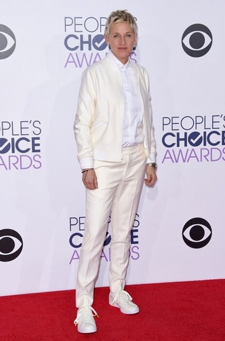 Comedian, TV Host and actress Ellen DeGeneres arrives at the People's Choice Awards at the Nokia Theatre in Los Angeles, January 2015