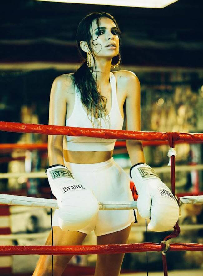 Emily Ratajkowski during the boxer photo shoot for the Libertine Magazine by photographer Olivia Malone in Summer 2013
