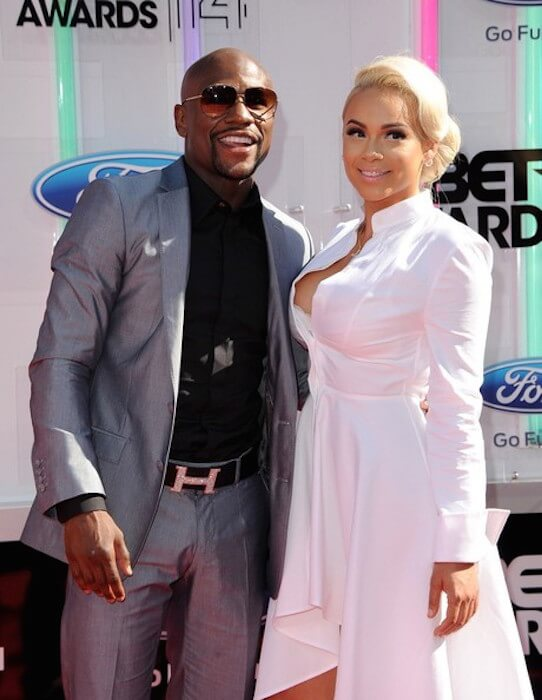 Boxer Floyd Mayweather, Jr. and Doralie Medina at the BET Awards 2014 in Nokia Theatre L.A Live, Los Angeles, California on June 29, 2014