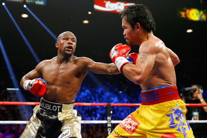 Floyd Mayweather, Jr. during their welterweight unification championship bout on May 2, 2015 with Manny Pacquiao at MGM Grand Garden Arena in Las Vegas, Nevada