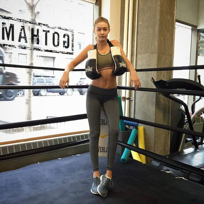 Gigi Hadid in boxing ring