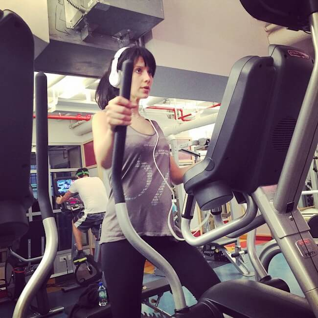 Hilaria Baldwin doing cardio - Elliptical Trainer