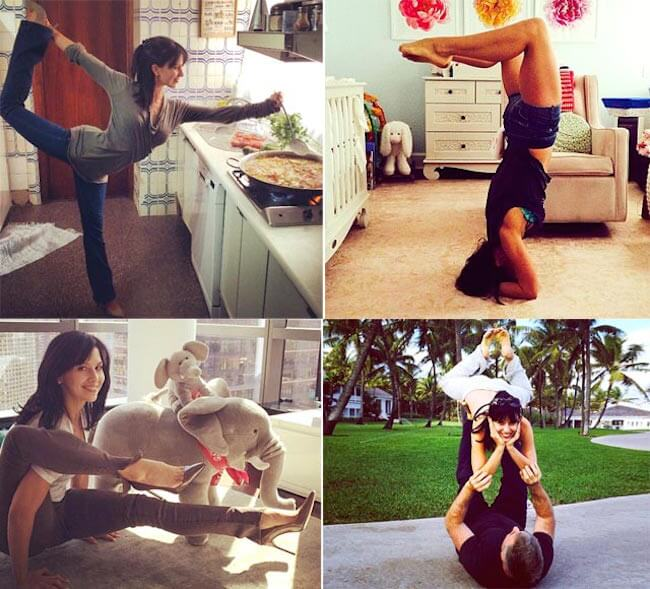 Hilaria Baldwin in various yoga poses