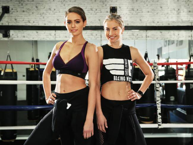 Jesinta Campbell boxing with trainer, Lauryn Eagle