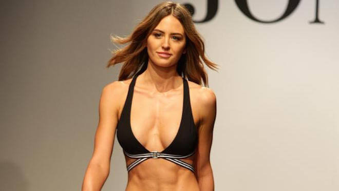 Jesinta Campbell during David Jones Fashion Show showing off her 6 packs