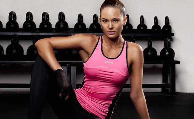 Jesinta Campbell poses for Asics in her workout gear