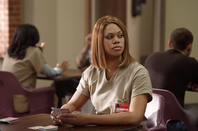 Laverne Cox in a still from 'Orange is the New Black' playing Sophia Burset