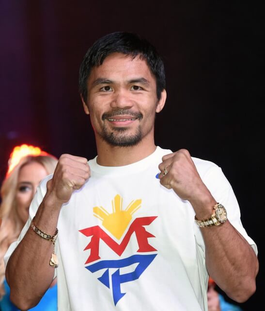 The World Champion Boxer Manny Pacquiao at a fan rally at the Mandalay Bay Convention Center on April 28, 2015 in Las Vegas, Nevada