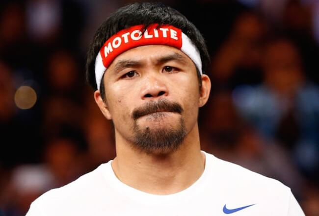 Manny Pacquiao during the welterweight unification championship bout on May 2, 2015 at MGM Grand Garden Arena in Las Vegas, Nevada