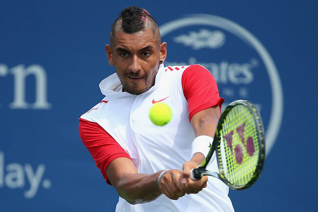 Nick Kyrgios passing a shot against Richard Gasquet at Lindner Family Tennis Center in Cincinnati, Ohio on August 18, 2015