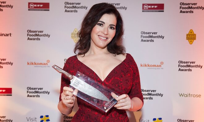 Nigella receives her award for Best Food Personality at the Observer Food Monthly Awards on October 16, 2014 in London