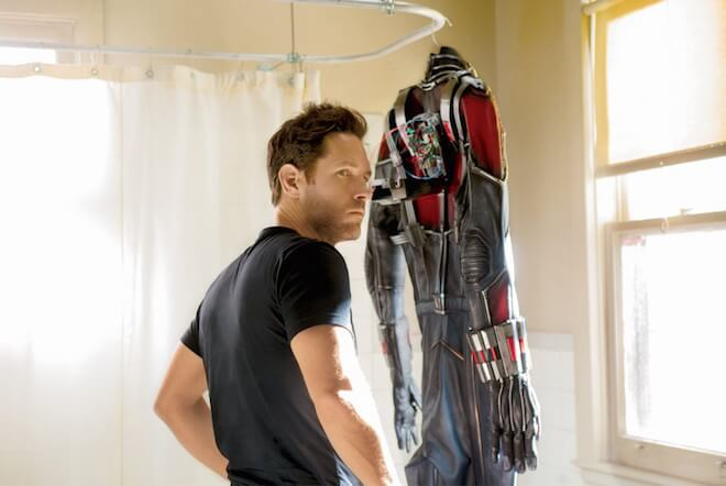 Paul Rudd with his Ant-Man suit