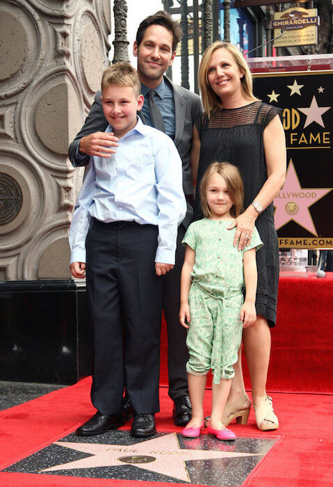 Paul Rudd with his wife Julie, son Jack, and daughter Darby at the Hollywood Walk of Fame