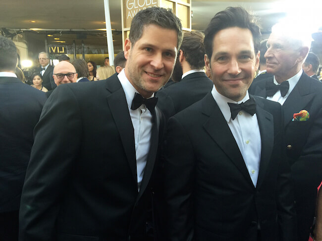 Raffael Dickreuter (Left) and Paul Rudd at the Golden Globes 2015