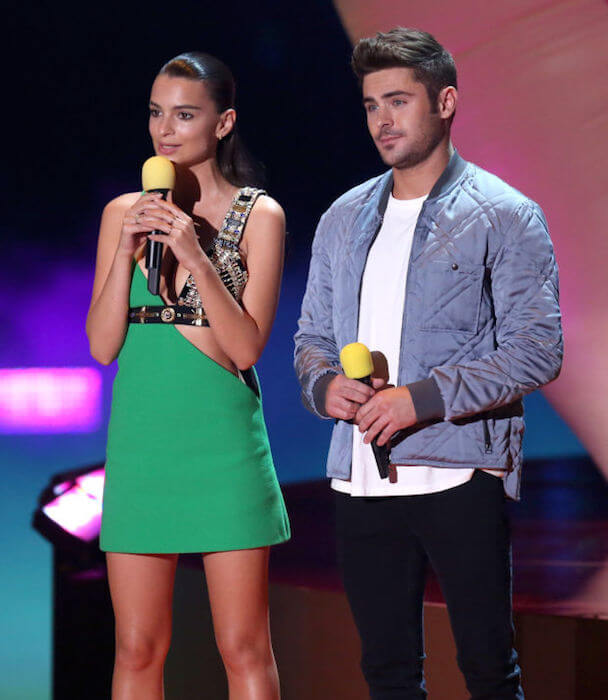 "Zac Efron and Emily Ratajkowski during the promotion of ""We Are Your Friends"""