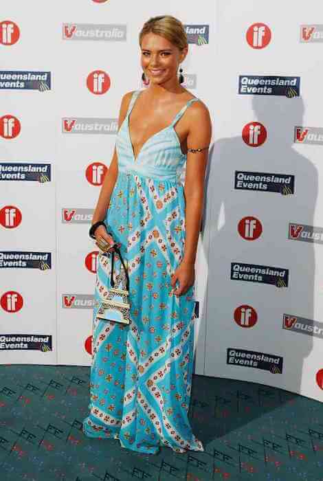 Indiana Evans wearing maxi dress