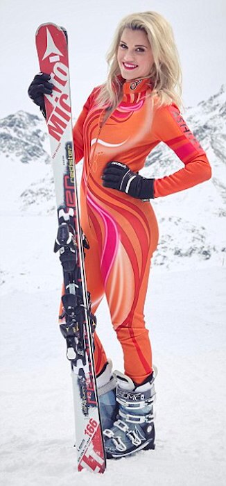 Ashley Roberts enjoying her skiing ride on the snow