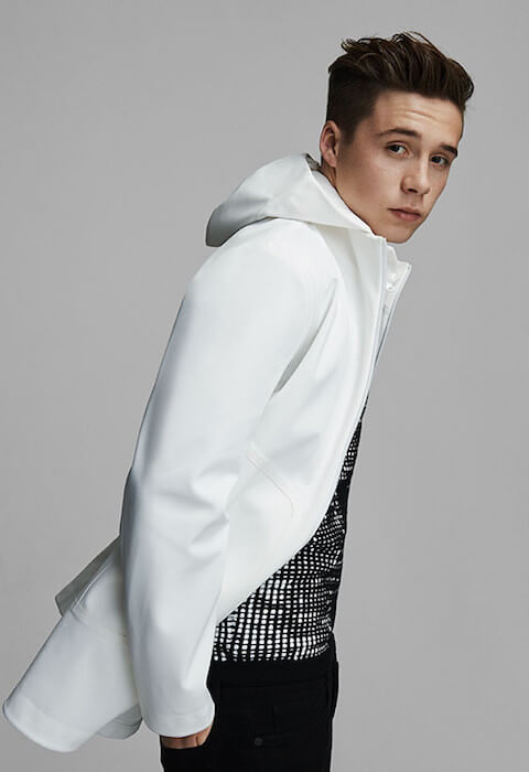 Brooklyn Beckham posing for Roller Coaster Magazine cover.