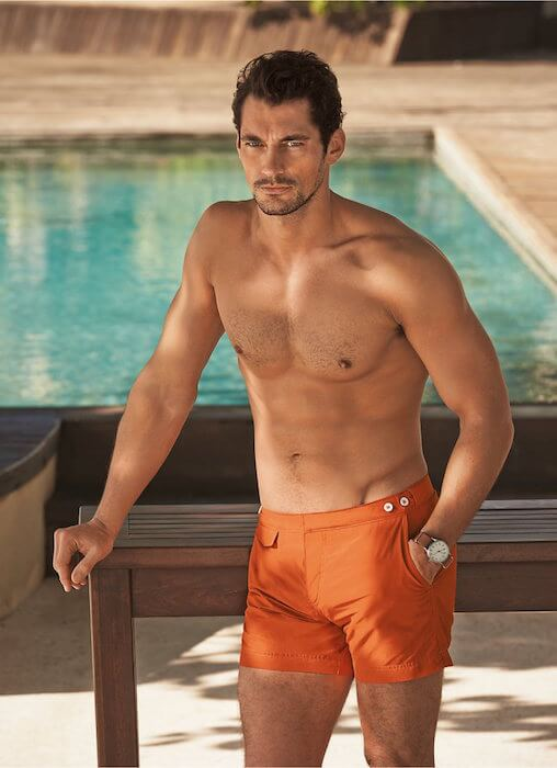David Gandy modeling his newly added beachwear line for Marks & Spencer in June 2015