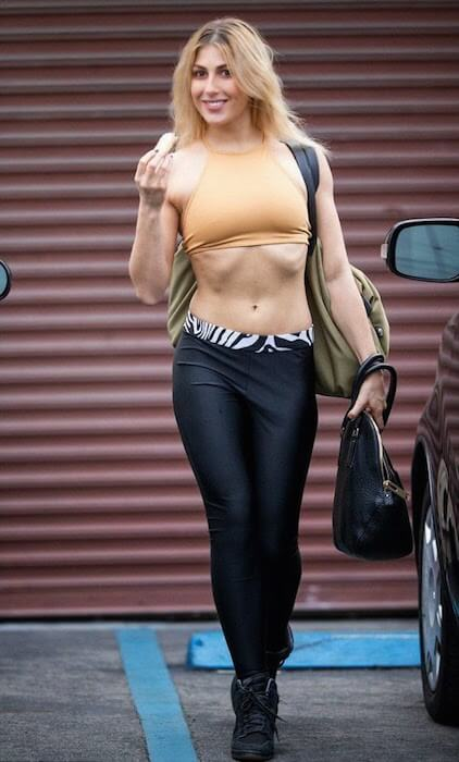 Emma Slater showing off her banana while going for DWTS dance rehearsals 2015