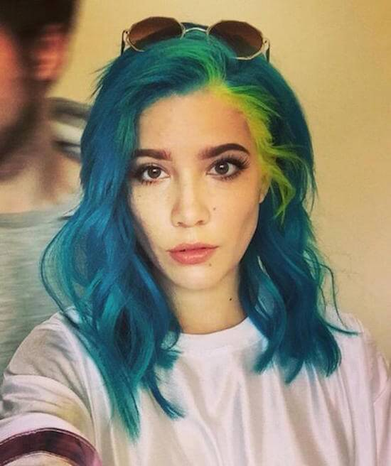 Halsey In Blue Colored Hair