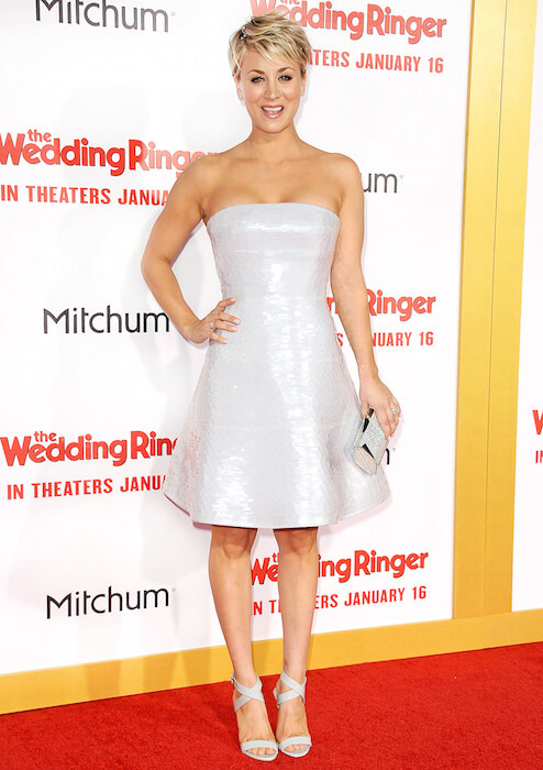 Kaley Cuoco looking sexy at the premiere of The Wedding Ringer in January 2015