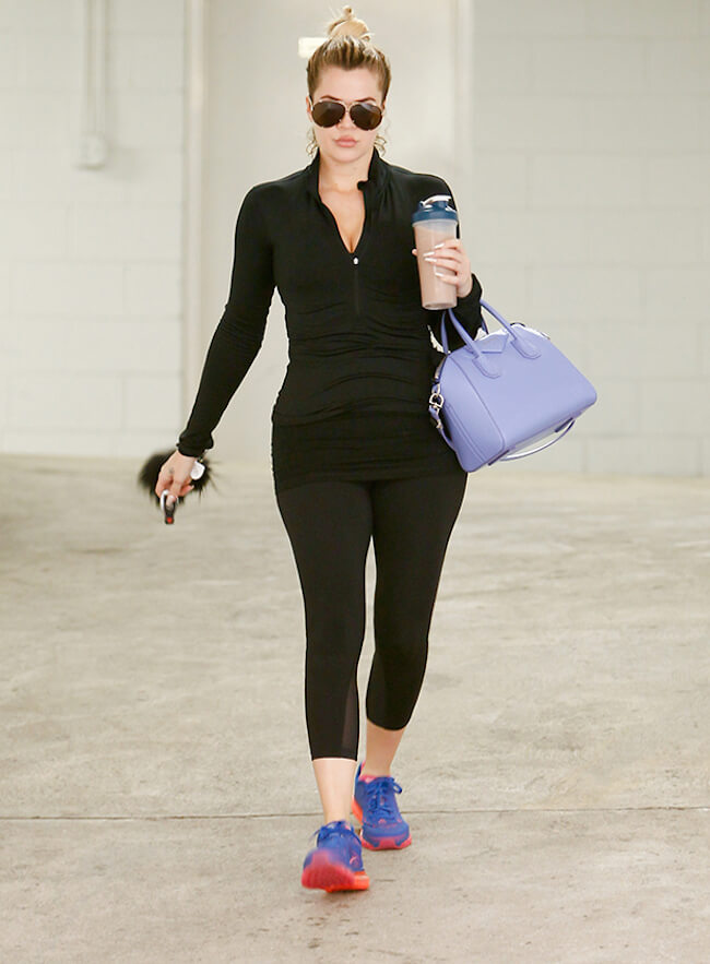 Khloe Kardashian after a gym session