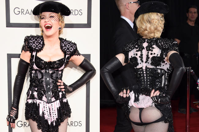 Madonna showing off her ass during Grammys 2015