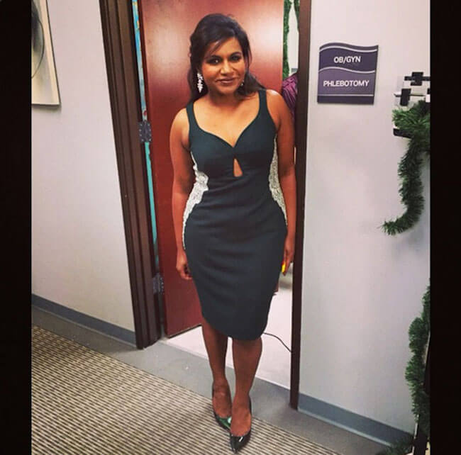 Mindy Kaling showing off her curves