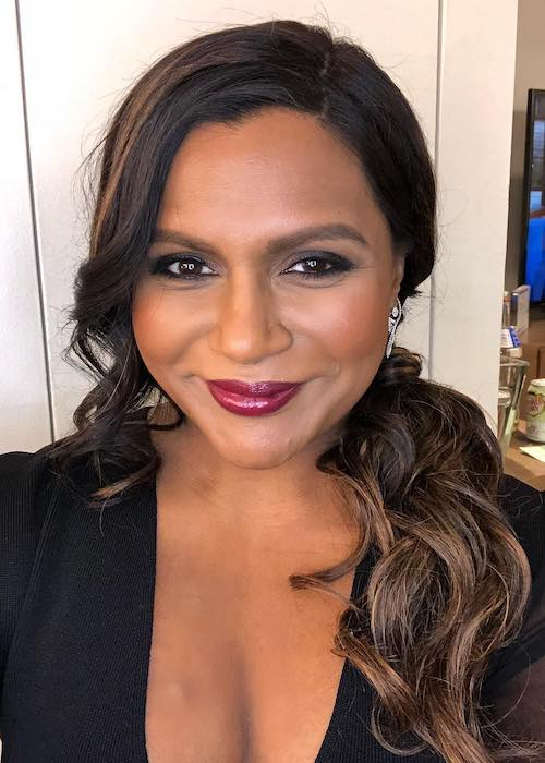 Mindy Kaling with her beautiful smile at The Late Show with Stephen Colbert in March 2018