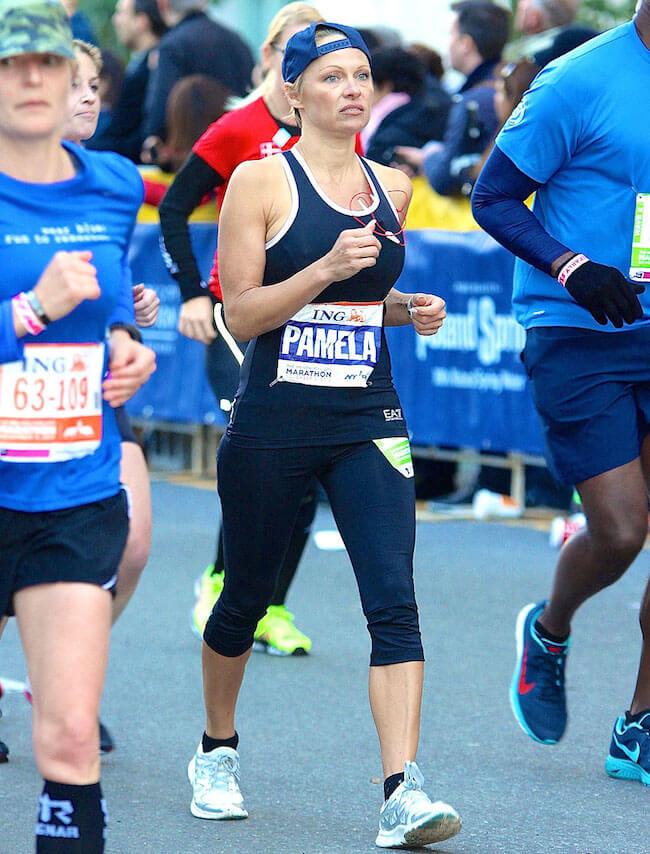 Pamela Anderson during New York Marathon