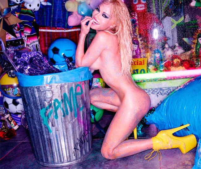 Pamela Anderson posing n*de for Flaunt Magazine