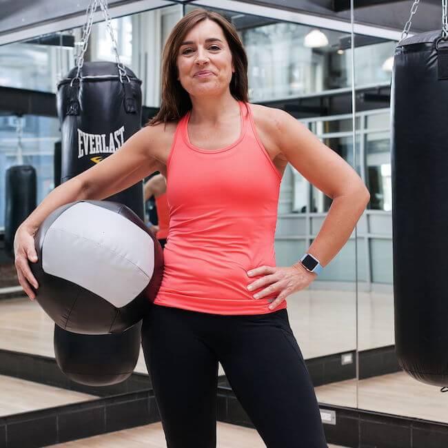 Sarah Robb O'Hagan in workout gear