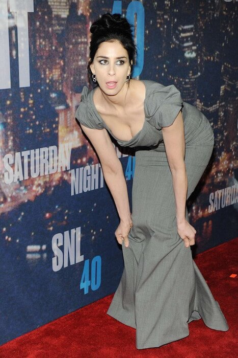 Sarah Silverman, while adjusting her dress at 2015 SNL Anniversary Special in New York