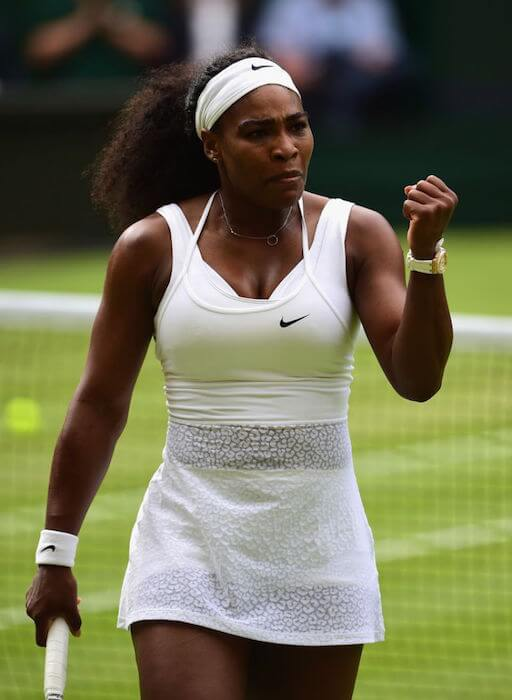 Serena Williams at the quarterfinal of Wimbledon Tournament 2015