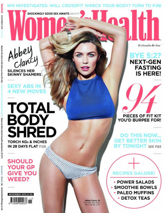 Abbey Clancy at Women's Health cover for November 2015 Issue
