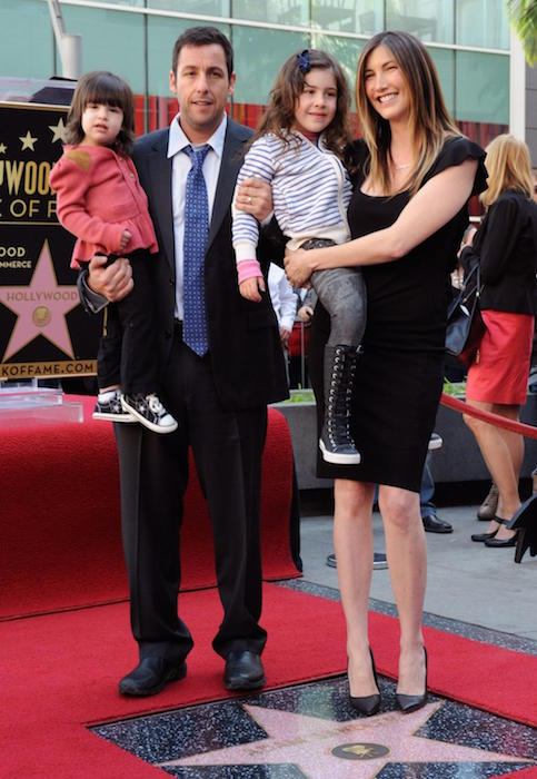 Adam Sandler with wife Jackie Sandler and two children