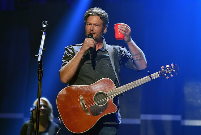 Blake Shelton performs onstage at the 2015 iHeartRadio Music Festival at MGM Grand Garden Arena