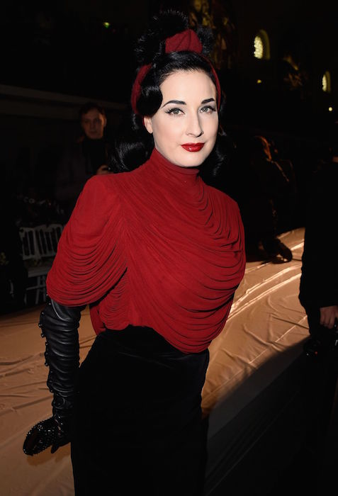 Dita Von Teese at Jean Paul Gaultier Show in Paris in January 2015