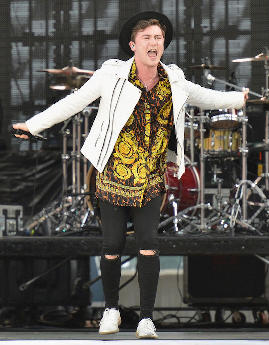 Jake Roche performing during the 2015 MLB All Star Concert