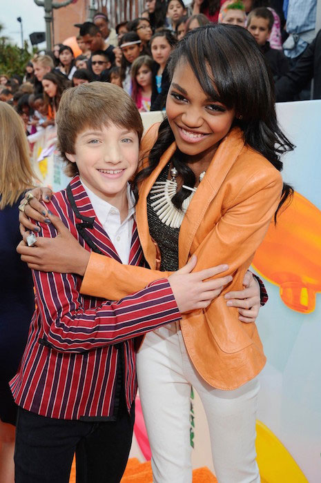 Jake Short and China Anne McClain at Nickelodeon's 25th Annual Kids Choice Awards held in 2012