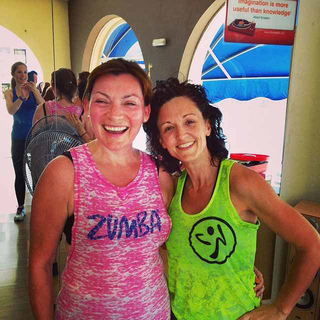 Lorraine Kelly in a Zumba class with instructor, Maxine Jones