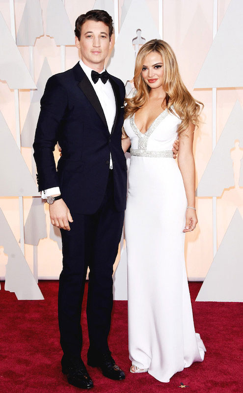 Miles Teller and Keleigh Sperry during 2015 Academy Awards