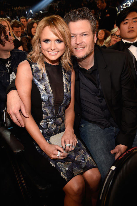 Miranda Lambert and Blake Shelton attends The 57th Annual Grammy Awards
