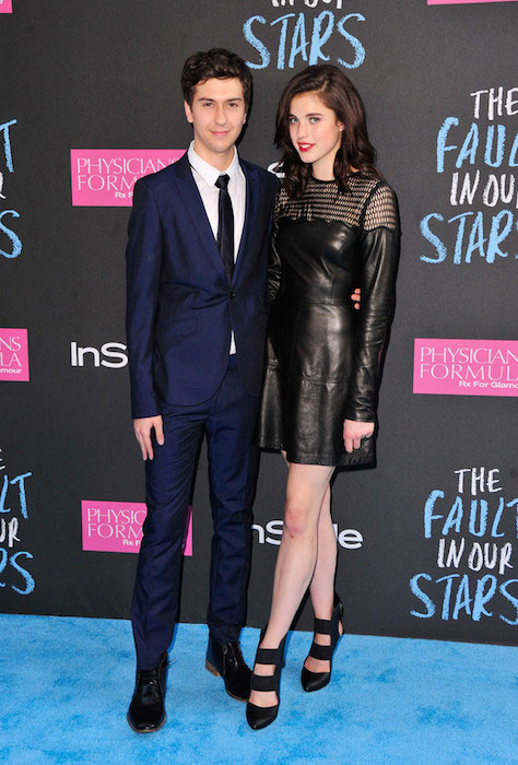 Nat Wolff and Margaret Qualley at The Fault in our Stars premiere