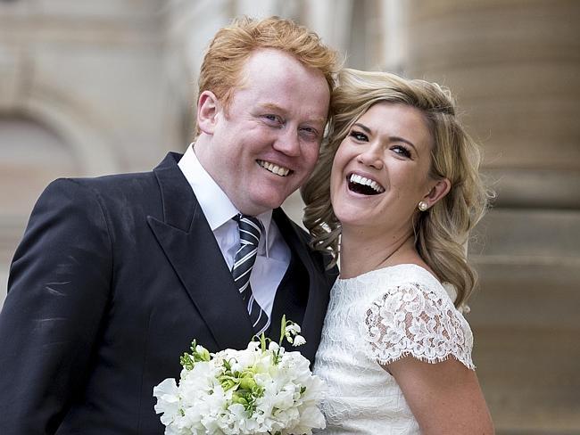 Sarah Harris and Tom Ward on their wedding day