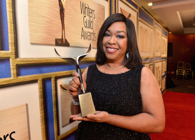 Shonda Rhimes during the 2015 Writers Guild Awards LA Ceremony in the middle of weight loss
