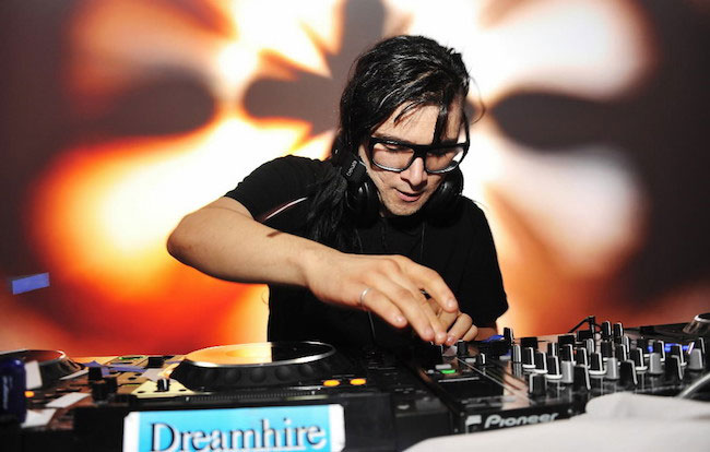 Skrillex DJing at Samsung Galaxy S III launch hosted by Ashley Greene in 2012