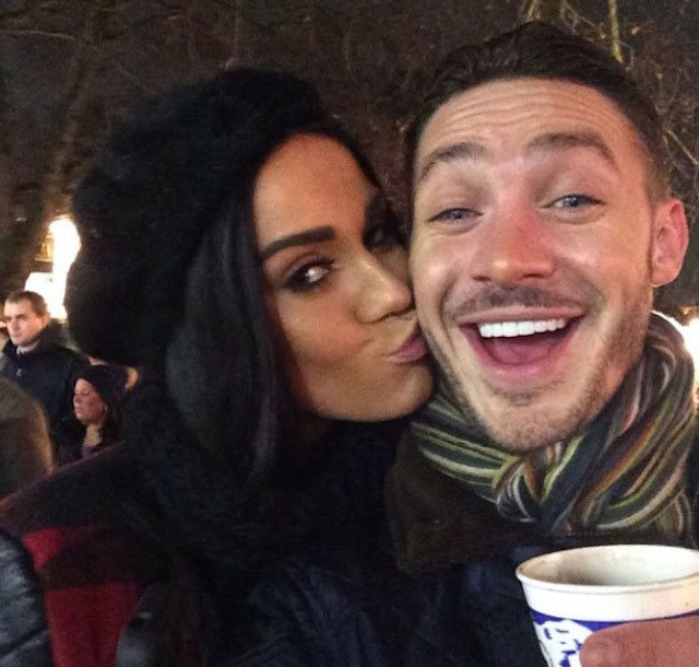 Vicky Pattison and Kirk Norcross kissing at Winter Wonderland in London